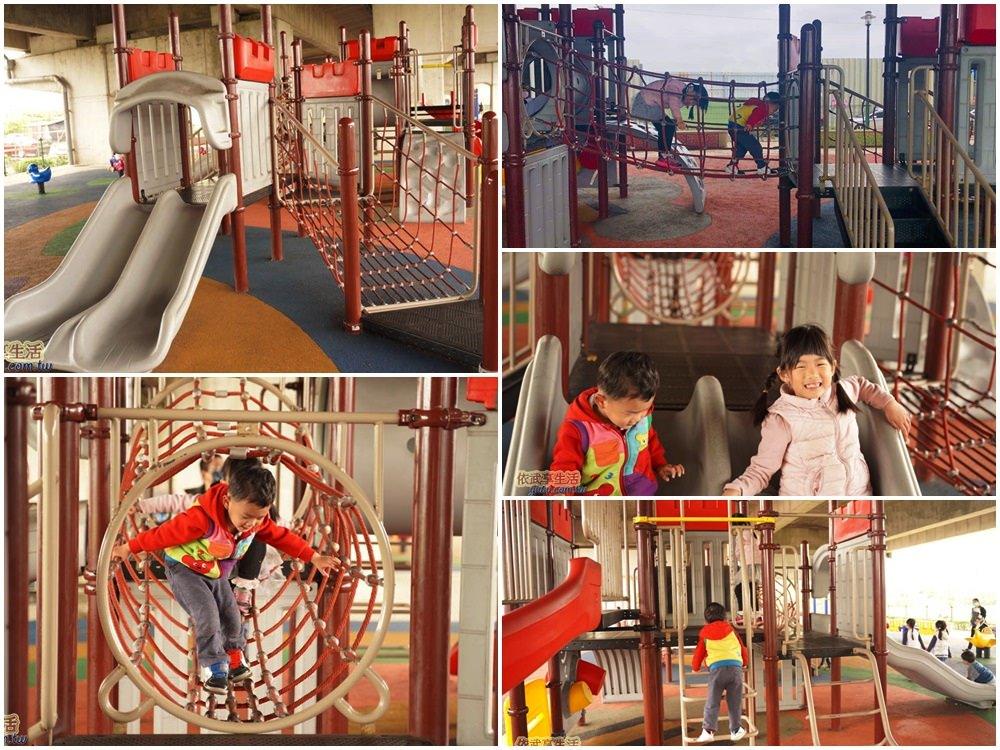 桃園國2橋下兒童冒險公園城堡攀爬網溜滑梯區