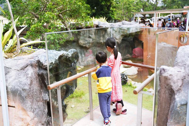 新竹昆蟲館出入口對面的透明玻璃