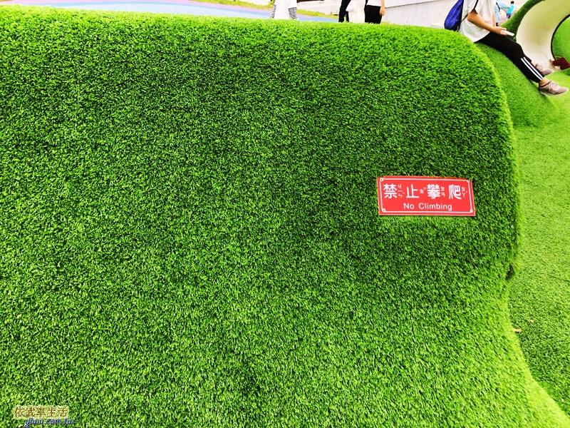 新竹竹東台泥公園草皮水管涵洞禁止攀爬